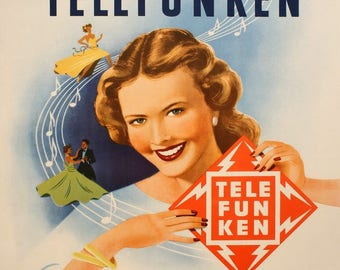 "Original Vintage Poster ""Telefunken"" by Anonymous 1955"
