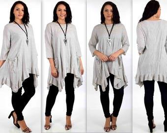 ComfyPlus Linen Cotton Asymmetrical Tunic, Plus size tunic. Natural Fiber Tunic, Striped Tunic 1XL/2XL,  3XL/4XL