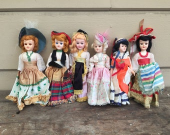 Vintage Dolls Doll Lot Six International Costumes 1960s 1950s World Mid Century Collectable