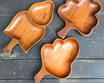 Three mahogany leaf shaped serving dishes made in Haiti solid carved wood