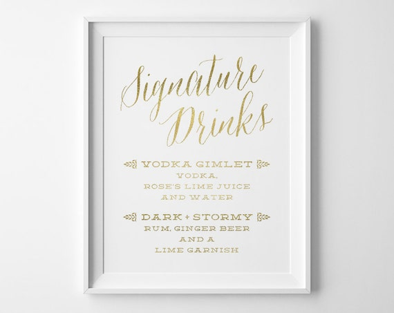Gold wedding signs wedding signature drinks sign spring junglespirit Images