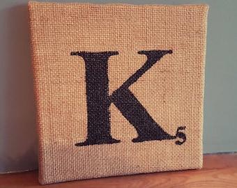 K - Scrabble Tile Hand Painted Hessian Canvas