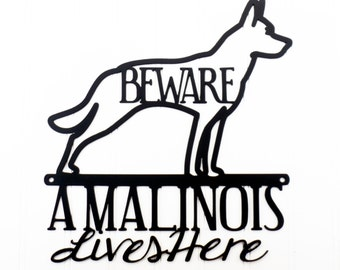 Belgian Malinois Lives Here Metal Sign - Black, 11.25x12, Malinois, Metal Wall Art, Dog Sign, Door Sign, Wall Hanging