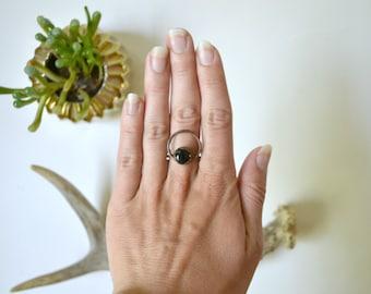 Black Onyx & Copper Ring Size 10.5