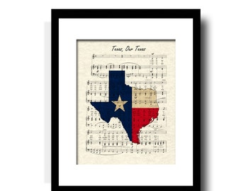 Texas Our Texas Sheet Music Art Print, Texas Art Print, Texas Flag Art Print, Texas Map Art, Texas State Song Art