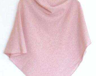 Soft Merino Lambswool Poncho Baby Pink