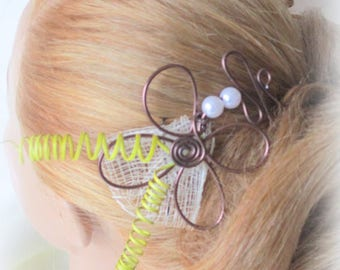 chocolate and ivory, lime green hair jewelry