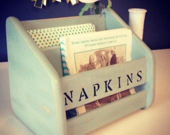 Napkin holder Robin's egg blue - Vintage Upcycled
