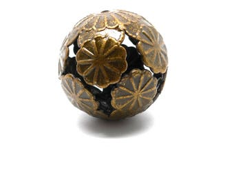 Large bronze filigree floral bead