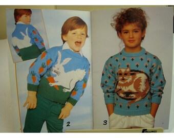 Childrens Animal Design Knitting Pattern, Sweaters, Cats, Rabbit, Elephants, Ducks, Panda, Patons No. 499 Child Sizes 2-12, Women Sm-Large