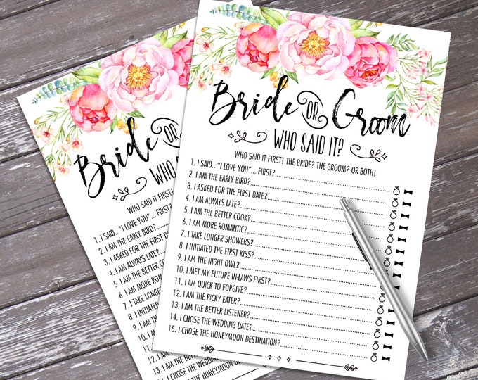 Who Said It Bride or Groom Game - Bridal Shower Game, Wedding Shower Game, Bachelorette Party Night | INSTANT Download PDF - Printable