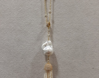 Sterling Silver & Yellow Gold Plated CZ and Pearl Tassel Necklace
