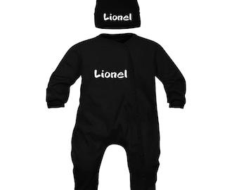 (Pajamas + Beanie) personalized baby set