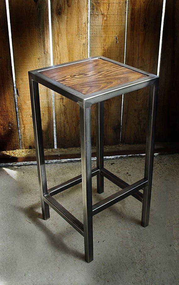 Tabouret industriel chaise bar fer bois industrielle - Chaise en fer industriel ...