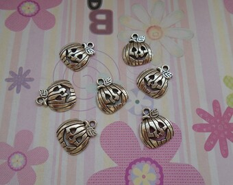20pcs antique silver halloween pumpkin findings 16mmx18mm