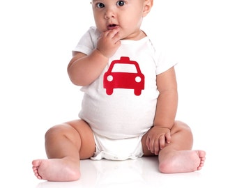 Baby onesie with red car/taxi