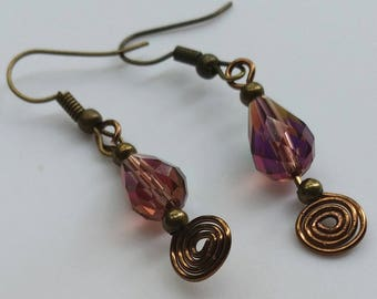 Purple, Copper, Brass, Faceted Glass, Teardrop, Dangle Earrings, Spiral, Wire, AnnaMelDesigns, Autumn Accessories