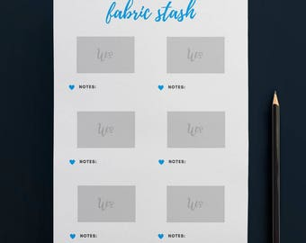 Printable Fabric Stash Organiser in TURQUOISE (6 to Page) // Fabric Planner //Printable Planner // A4 Size  //Paper // Instant Download
