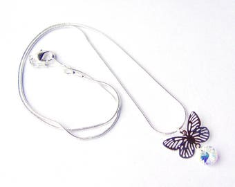 Butterfly necklace . silver butterfly charm . aurora borealis . gift for her . girlfriend gift . unique best friend gift . everyday jewelry
