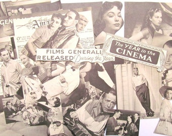 Vintage 1950s film paper ephemera pack: 45 paper pictures, die cuts, clippings. Embellishments for scrapbooks, collage, art journals. EP686