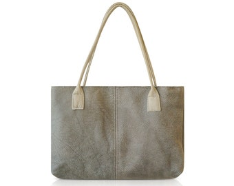 Grey Leather Tote, Italian Leather Handbag, Simple Leather tote, Everyday Leather Tote, Leather Work Tote, Over Shoulder Handbag