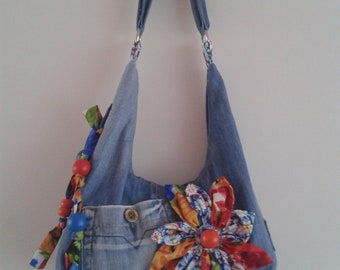 Denim handmade hand/shoulder bag
