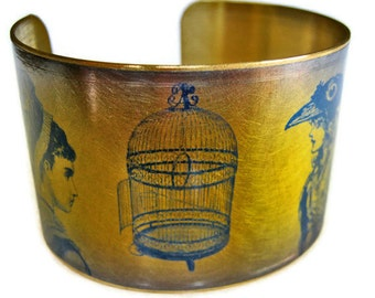 EMPTY BIRDCAGE brass cuff bracelet Free Shipping to USA Gifts for her