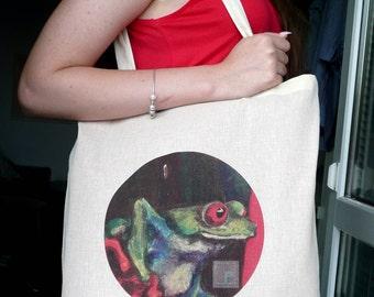 Frog Printed Art Natural Cotton Bag