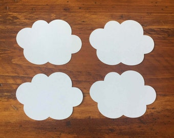"""Large White Cloud Die Cuts (4"""" wide), Cloud Wish Tags, Baby Shower Decor"""