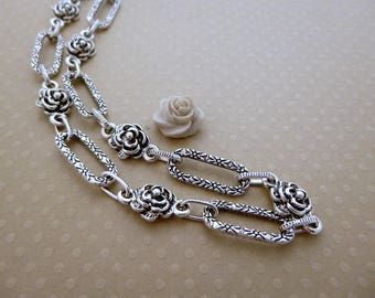 Antiqued silver chain links flowers and rectangles x1m - CHA 0728