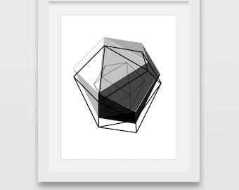 Black Geometric Print, 3D Art, Geometric Wall Art Home Decor, Minimalist Wall Print, Triangle Wall Art, Black Modern Art, Abstract Wall Art