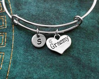 Grammy Bracelet Grammy Bangle Grandma Heart Bracelet Grandmother Gift Mother Bracelet Charm Bracelet Adjustable Bangle Personalized Bangle