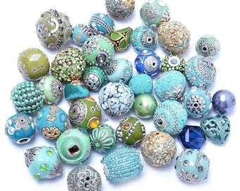 40 Piece Mermaid Blue Green Focal Beads