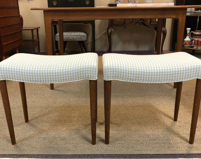Pair of Danish Mid Century Modern, Houndstooth Fabric Benches, Newly Reupholstered