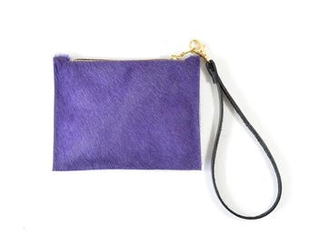 Mimi - Handmade Purple Hair On Cow Hide Leather Clutch Bag Zip Pouch Purse
