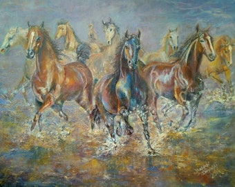 "Original oil painting ""Running horses"""