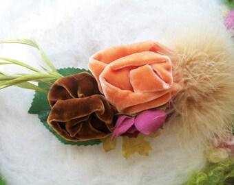 Large Hair Barrette Big Flower Hair Accessory Earth Harvest Velvet Rose Feather Clip Fresh Handmade Floral Hair Piece