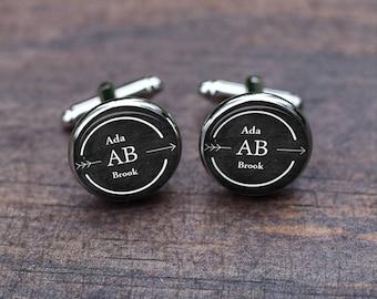 Arrow cufflinks, custom inital and monogrammed letter, personalized wedding cufflinks, groom cufflinks, men gifts custom name tie clips