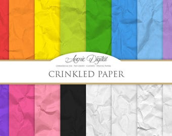 Crinkled Digital Paper. Scrapbook Backgrounds, colorful crumpled paper textures, crinkled paper background for Commercial Use.