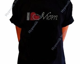 "Girls Rhinestone T-Shirt "" I Love Mom "" Size XS to XL Mother's Day"