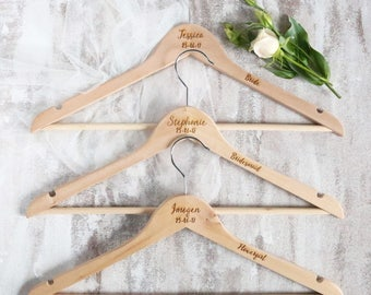 Personalised engraved wood wedding hangers - Bride bridesmaid dress hanger - customised bridal party coat hanger - wood custom bridal hanger