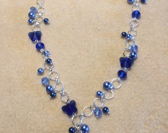 Blue crystal butterfly pearl beaded chain necklace