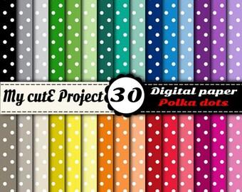 Polka dots Digital Paper | Digital Paper | Polka dot scrapbook paper | Polka dots background | Scrapbooking polka dot | Commercial use N1