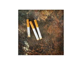 Cigarettes Photo, Scratched Bench, Dad Workbench, Garage, Workshop Art