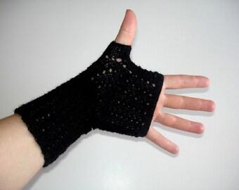 Fingerless Gloves Black Merino Silk Lace Hand Knit