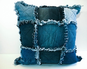 Rag Quilt Throw Pillow Cover - Shabby Chic Cushion Cover - Upcycled denim Pillow - Repurposed Blue Jean Throw Cushion