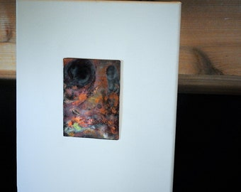 "Abstract ""Painting"" on copper, mounted on white canvas. Title: ""Black Hole""."