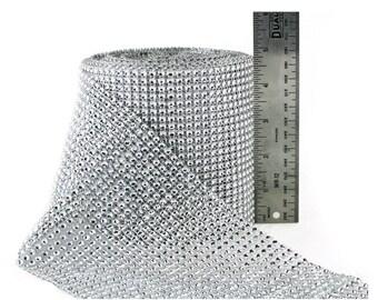 Diamond Rhinestone Ribbon 30ft long x 4.5in wide - Silver Mesh Wrap, Wedding Decorations Party Supplies Unique wedding reception theme ideas