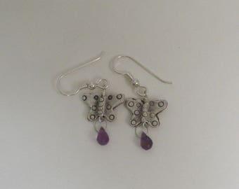 silver butterfly earrings with amethyst briolettes