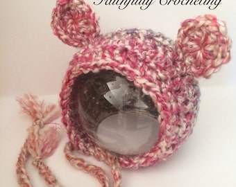 Newborn bear bonnet... Photography prop... Ready to ship